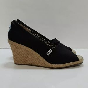 TOMS Size 9 W Black Canvas Open Toe Wedge